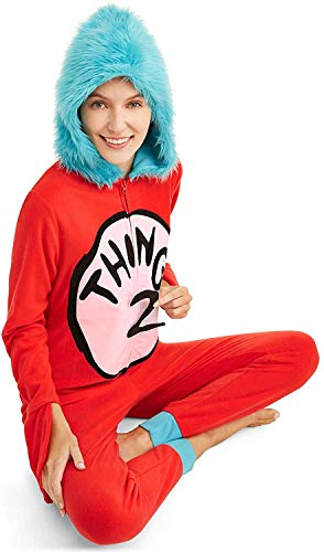 Dr. Suess Women's Thing 1 Thing 2 Microfleece Onesie Union Suit, Thing 1 & 2, Red, X-Large