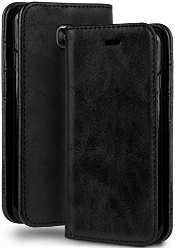 moex Booklet in Lederoptik - Kartenfächer und Aufstellfunktion passgenau für Samsung Galaxy A5 (2016) | Eleganter 360 Grad Vollschutz, Schwarz