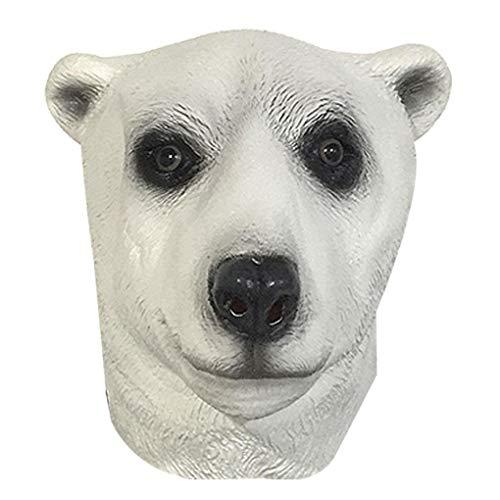 HX Maschera in Lattice Testa di Animale Maschera Animale Halloween Adulto Festa in Costume Decorazione Lattice Animale Orso Polare Testa Maschera Bianca