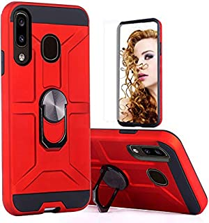 Samsung Galaxy A01 Phone Case,Dual Layers of Shockproofwith Rotatable Ring Kickstand Fit Magnetic Car Mount (RED)