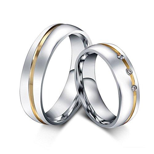 ROMQUEEN JOYERÍA 2 Piezas Anillo de 6MM Anillo de Oro con Diamante Alianza Boda Anillo Mujer/Hombre de Plata(la Talla Mujer:17 & Hombre:22)