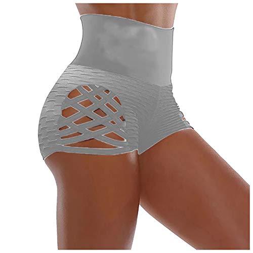 XOXSION Pantalones cortos de jogging para mujer, de verano, de un solo color, cintura alta, elásticos, ligeros, para hacer yoga, para el tiempo libre, fitness, color gris, talla L