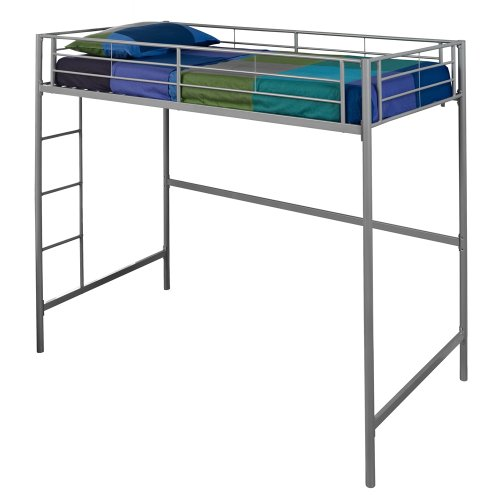 - WE Furniture Metal Loft Bunk Bed, Twin, Silver