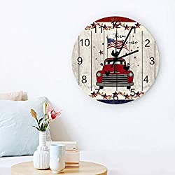 Independence Day Decorative Wall Clock 12 Round, Arabic Numerals, Silent Non Ticking Quartz Wall Clocks Battery Operated, Fiberboard Wooden Look American Farm House Vintage Truck Pentagram Wreath