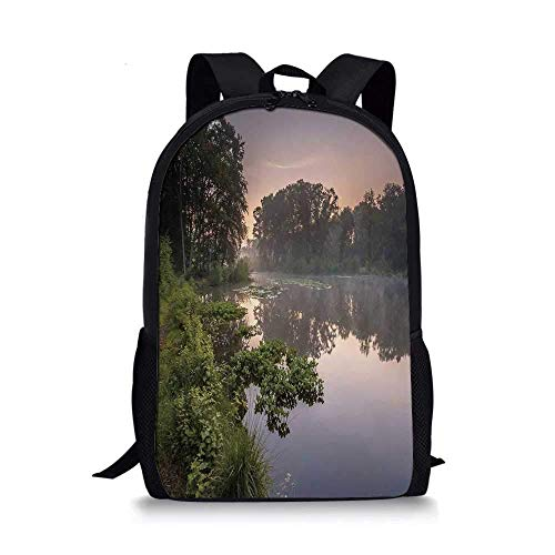 HOJJP ñ mochila escolar von ruedas Light Blue Stylish School Bag, Over the Pond with Violet Flowers Macro Nature Photography for Boys,11''L x 5''W x 17''H