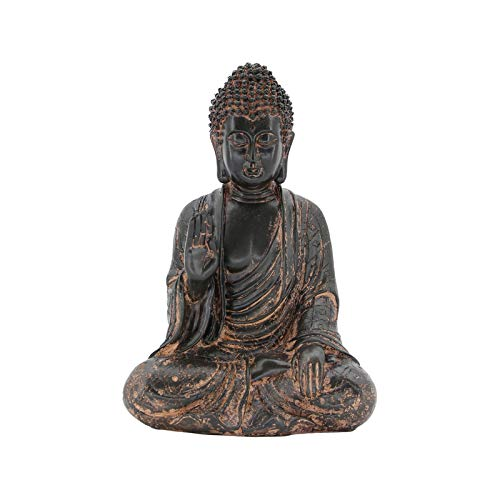 Leekung Meditative Seated Buddha Statue,Rustic Buddha Decor Figurine,Antique Meditation Buddah Home Decoration 11'inch Purple Red Color