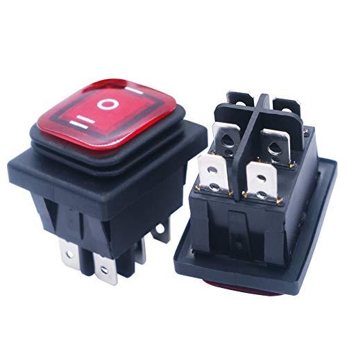 mxuteuk KCD4-203N-R - Interruptor basculante para barco (2 unidades, 16 A/250 V, 20 A/125 V, 3 posiciones), color rojo