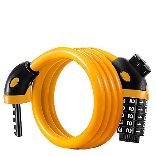 Candado de bicicleta con cable de bloqueo de accesorios para bicicleta larga y ligera, con 5 dígitos, códigos de 1,25 m, color amarillo