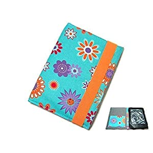 aufklappbare eBook Reader eReader Tablet Hülle Happy Flower türkis, Maßanfertigung, z.B. Kindle Paperwhite/Tolino Vision…