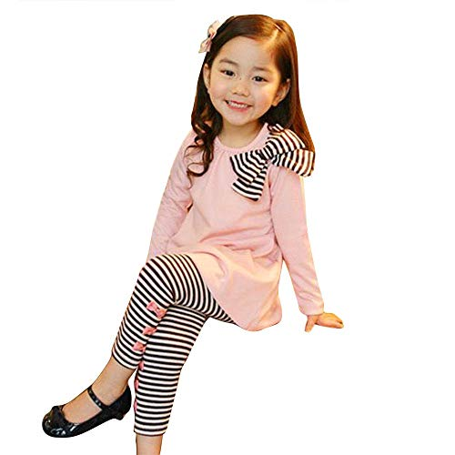 IMJONO Printemps Filles Ensemble Mode 2PCS Enfants Bébés Filles Vêtements À Manches Longues Bowknot Robe T-Shirt et Stripe Long Legging Pantalon Outfit Coton Ensemble 2-8 Ans(Rose,3-4 Ans)