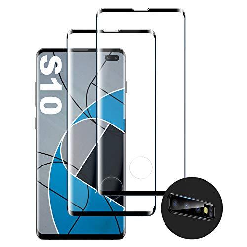 Verre Trempé pour Samsung S10, [2 Pièces] [Dureté 9H] [Haute Définition] Verre trempé de Haute qualité [Compatible avec Lecteur d'Empreinte] [Protecteur de lentille] Convient pour Samsung Galaxy S10