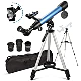 BNISE Telescopios de astronomía para adultos principiantes niños Ampliación 199X con funda de montaje para teléfono y lente 3X Barlow