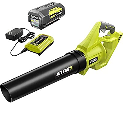 RYOBI 110 MPH 500 CFM 40-Volt Lithium-Ion Cordless Variable-Speed Jet Fan Leaf Blower with 4.0 Ah Battery and Charger Included