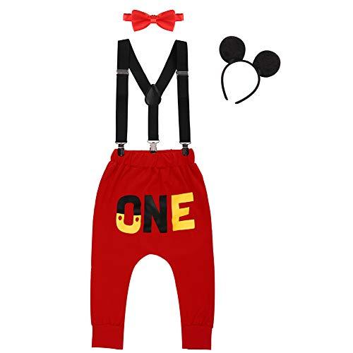 IWEMEK Baby 1. Geburtstag Kostüm Jungen Mouse Karneval Cosplay Outfit Hosenträger Lange Hosen mit Fliege Maus Ohren Stirnband 4pcs Bekleidungssets Fotoshooting Halloween 02 12-18 Monate