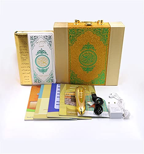 ACOOLOO Quran Pen Reader Islamic Quran Book Quran Pointing Pen New Digital Gold Quran Reader Pen with mp3 Over 14 Languages Muslim Quran Book French English Urdu Spanish Russian Uzbek