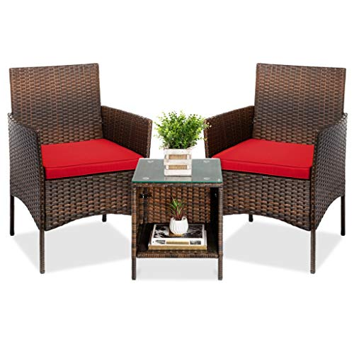 LUGEUK Kit di bistrot di Chat in Wicker Esterno a 3 Pezzi, mobili in Chat da terrazza con 2 sedie, Tavolo-Marrone/Rosso (Color : A)