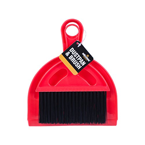 Milestone Camping 20940 Mini Dustpan and Brush Set Ideal for Camping Tents Caravans, 20cm x 17cm x 15cm, Red