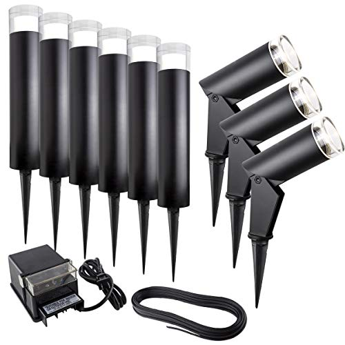 Bazz G14T71513X9 Luvia Landscape Kit, Spot Lights, Bollards, Power Source, Cable, Energy Efficient, Easy Installation, Directional, Bulbs Included, Black