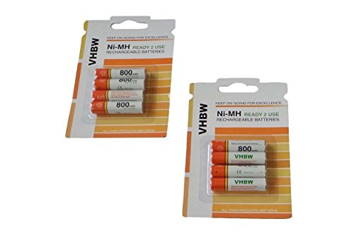 vhbw 8 x AAA, Micro, R3, HR03 Akku 800mAh passend für Panasonic KX-TG6723, KX-TG6724, KX-TG8051