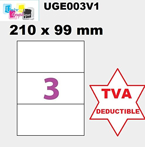 1500 zelfklevende etiketten, 210 x 99 mm, voor laserprinters en inkjetprinters, 500 vellen A4 met 3 zelfklevende etiketten, 210 x 99 mm, voor laser en inkjetprinters, 500 vellen A4 zelfklevend, Ref. UGE003V1.