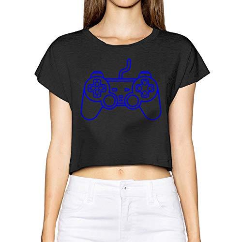 Playstation Controller Women's Summer Short Sleeve Tshirts Tops Blouse Black