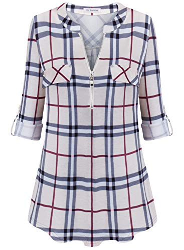 Bulotus Tunic Tops for Women 3/4 Sleeve Plaid Blouses for Work, Khaki Plaid, Large
