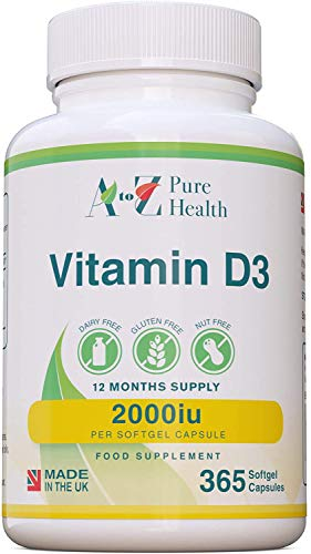 Vitamin D Supplement |High Strength Vitamin D3 2000iu | 365 Easy to Swallow Softgel Capsules |One a day, Year Supply |Supports Healthy Bones, Teeth, Muscle and Immune System| Made in the UK| AtoZ
