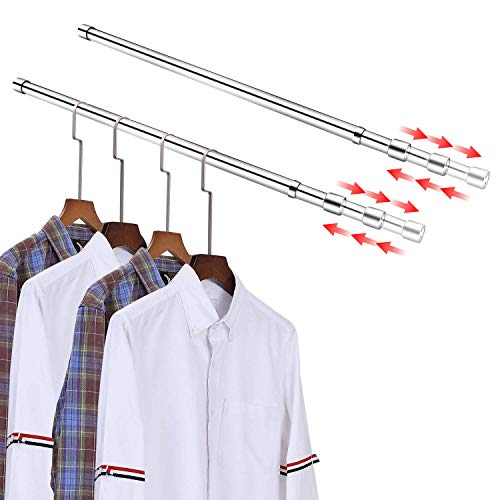 ASHOP Double Closet Rod for Hanging Clothes Stainless Steel Closet Pole for 30-48 in Closet Bar with 2 Brackets for Wardrobes Closet Shower Window Curtain Hanger Rod Clothes Rod for Closet 2 Pack