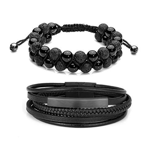 Jovivi 2 Pcs Lava Rock Essential Oil Diffuser Beads Bracelets Leather Beaded Bracelet Set Men/Women Stainless Steel Magnetic Clasp Adjustable