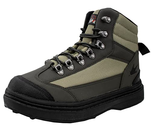 frogg toggs Men's Hellbender Wading Boot - Cleated , Green/Silver/Black, 10