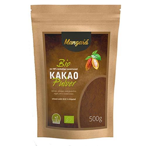 500 g Mangara® Bio Kakao-Pulver, 20/22% Fettgehalt, (DE-Öko-039) zertifiziert, ohne Zucker, Vegan, Laktose-, allergen- und glutenfrei, nicht Gen-manipuliert