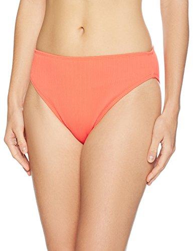 Amazon Brand - Mae Women's Swimwear Ribbed Bikini Bottom (for A-C cups),Bright Orange,Large
