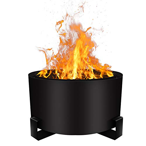 Urban Deco Patio Fire Pit Bonfire Pit Large 23.6 Inch Wood Pellet Fire Pit Outdoor Smokeless Firepit Wood Burning Low Smoke Portable Firepit with Stand and Waterproof Cover(23.6' Black)