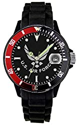best cheap watch for firefighters - Aqua Force Red/Black Rotating Bezel Air Force Plastic Case with Date/Silicone Strap