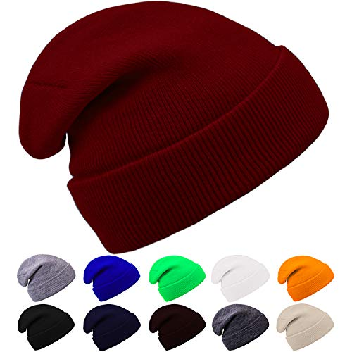 Cooraby Winter Beanie Hats Warm Cuffed Plain Knitted Skull Caps for Men Women Burgundy