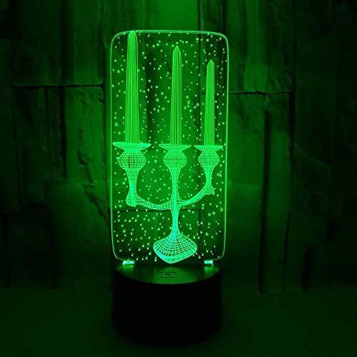 Diaporama 3D tafellamp nachtzicht 3D illusie met kaars licht verlichting bedlampje decoratief licht geschenk verjaardag Valentijnsdag afstandsbediening 16 kleuren Illu