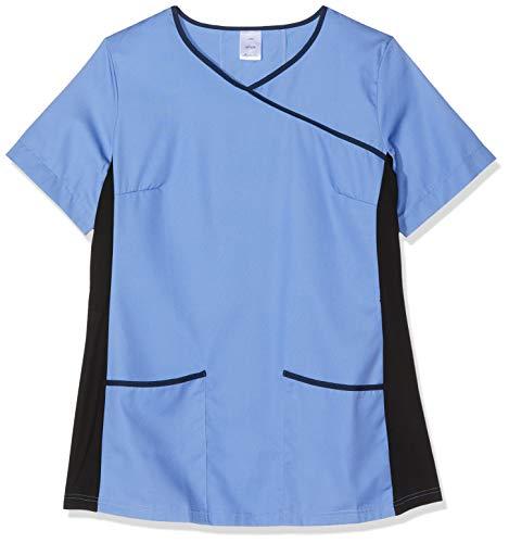 Workwear World WW343 Damen-Tunika, Stretch-Stoff, Kontrast Gr. Large, Metro Blau/Marineblau