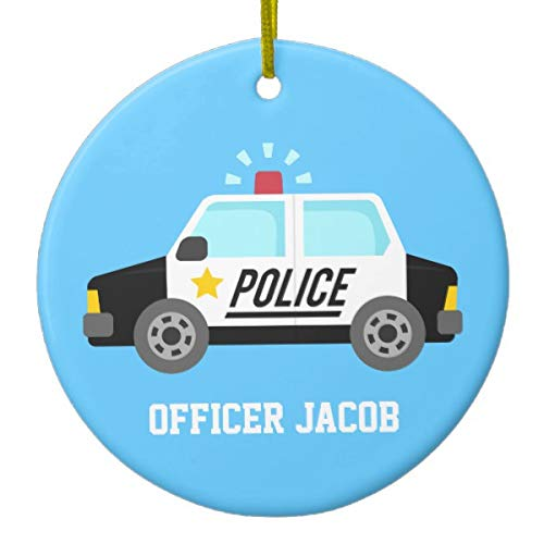 Lplpol Classic Police Car with Siren For Boys Room Ceramic Ornament for Gift Commemoration Day