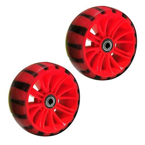 perfeclan Rueda Ligera de Scooter de 115mm/4,5 Pulgadas, Patinete, Ruedas de PU de Entrenamiento de Bicicleta para niños con reemplazo de Rodillo de rodamiento - Rojo