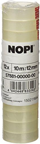 NOPI Klebefilm, transparent, 12 Rollen, 10m x 12mm
