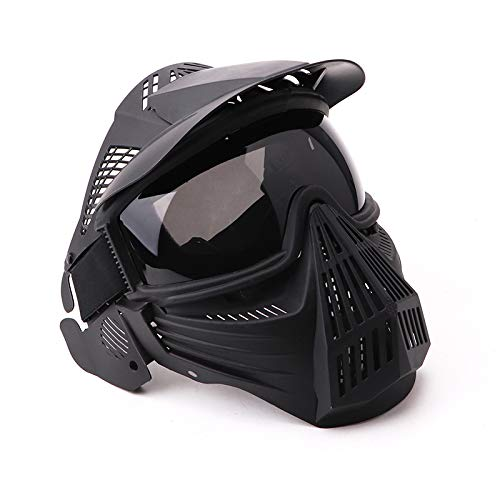 NINAT Paintball Mask Tactical Masks Full Face with Greylens Lens Goggles Eye Protection for Halloween CS Survival Games Shooting Cosplay Mask Paintball Black