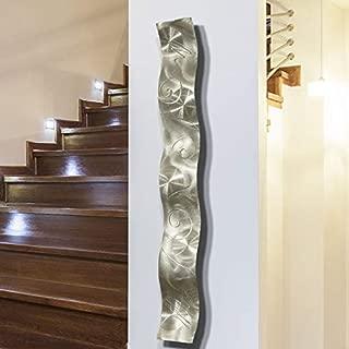 Silver 3D Abstract Metal Wall Art Sculpture Wave - Modern Home Decor by Jon Allen - 46.5