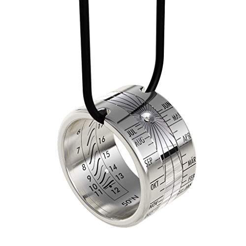 Anillo de reloj de sol Helios, anillo solar de acero inoxidable–anillo y colgante–anillo del campesino