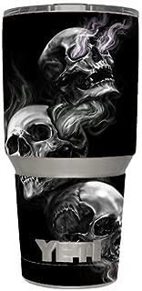 Skin Decal Vinyl Wrap (6-piece kit) for Yeti 30 oz Rambler Tumbler Cup / glowing Skulls in Smoke