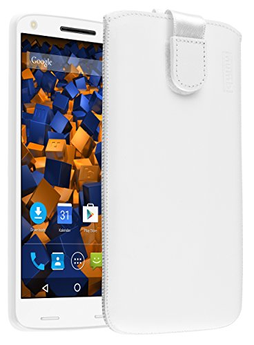 mumbi Echt Ledertasche kompatibel mit Motorola Moto X Force Hülle Leder Tasche Hülle Wallet, weiss
