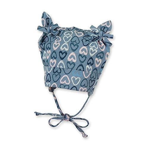 Sterntaler Knotenmütze für Mädchen mit Herzchenmuster, Alter: 3-4 Monate, Größe: 39, Mittelblau