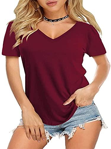 Camiseta de Mujer de Manga Corta con Cuello en V Camiseta de Verano Suelta Camiseta básica de...