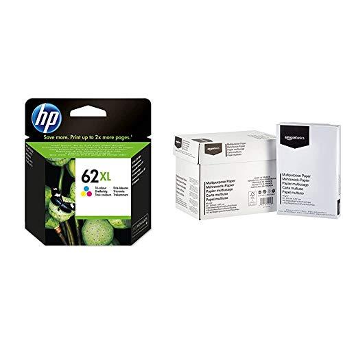 HP 62XL C2P07AE Cartouche d'Encre Grande Capacité Authentique pour Imprimantes HP Envy 5540/5640/7640 Trois Couleurs & AmazonBasics Papier multiusage A4 80gsm, 5x500 feuilles, blanc