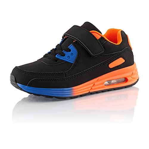 Fusskleidung® Mädchen Jungen Turnschuhe Dämpfung Sneaker Kinder Sportschuhe Blau Orange EU 30