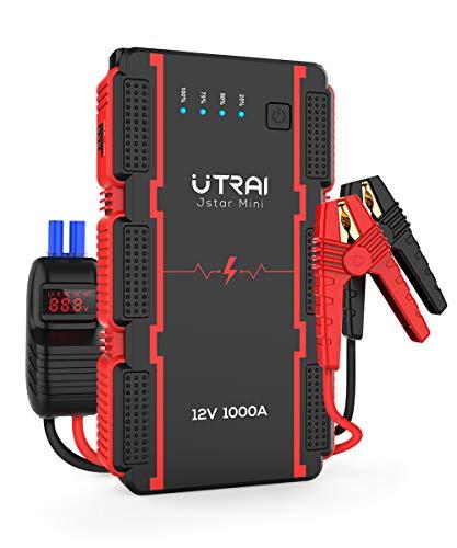 UTRAI Avviamento di Emergenza per Auto Portatile Avviamento,Batteria 13000mAh 1000A (Motori Fino a 6.0L Benzina/ 4.5L Diesell) Jump Starter e Smart-Clip,Power Bank Torcia a LED,Jstar Mini